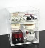 Organizador de acrílico claro del maquillaje con 3 cajones