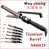 X Estilo abrazadera de sincronización Función de titanio LCD Curling pelo Plancha