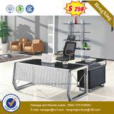 新しい設計事務所の家具の黒ガラス及び鉄骨フレームのオフィス表(NS-GD003)