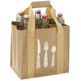 Bolsa impermeable de la funda de bolso del recorrido de las compras del vino del lazo de la lona