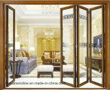 Дверь балкона цены по прейскуранту завода-изготовителя Guangdong застекленная двойником алюминиевая складывая