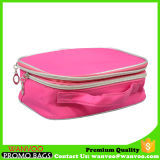 Logo personnalisé par sac cosmétique rose de service de tirette de mode double