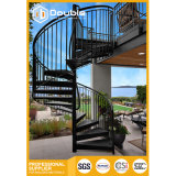 강철 난간 층계 디자인을%s 가진 옥외 스테인리스 나선형 계단