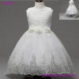 2017 schöne weiße Blumen-Mädchen-Kleider bördelten Spitze Appliqued Bogen-Festzug-Kleider für Kind-Hochzeitsfest