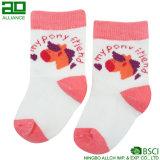 Peúgas feitas sob encomenda feitas malha bonitos por atacado do bebê do algodão da cor-de-rosa de bebê