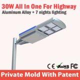 la lámpara de calle solar integrada más nueva de 30W LED con la luz solar ajustable