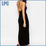 Reizvolle Form-lange Art-Maxi Backless Kleid mit Seiten-Riss