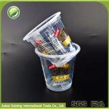 도매 뚜껑과 밀짚을%s 가진 관례에 의하여 인쇄되는 처분할 수 있는 플라스틱 아이스크림 컵