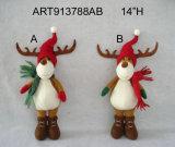 Jouet debout de décoration de Noël de renne de régfion boisée
