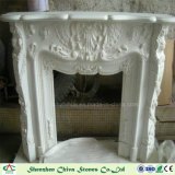 Camino moderno dell'oggetto d'antiquariato di marmo bianco del camino per la decorazione domestica