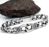 Punk da jóia dos braceletes cubanos dos homens & preto inoxidáveis da prata do estilo da rocha