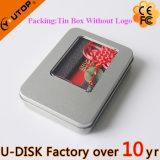 祝祭のギフト小型プラスチック赤い滑走USB Pendrive (YT-3218-01L)
