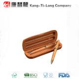 Caja de regalo de bambú con la pluma y el lápiz