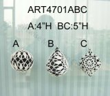 "4 "" H, 5 "" H White & Black Crochet Tree Ball, 4asst-Christmas Ornaments"