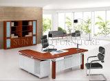 Het houten Vastgestelde Gebogen Bureau van het Bureau met de ZijBoekenkast van de Lijst (sz-ODT614)