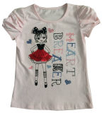 T-shirt de Girl da forma em Children Clothes com Print Sgt-070