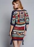 Frauen strickten lange Hülsen-feste Strickjacke-reizvolles Kleid (W17-706)