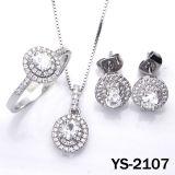 Bridal комплект Jewellery венчания Zirconia ювелирных изделий 925 серебряный кубический