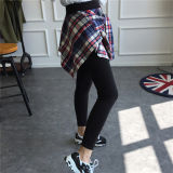 Guêtres coréennes en gros de jupe de chemise de plaid de mode de femmes