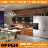 Oppein mobilia di legno della cucina della vernice UV bianca e del Brown moderno (OP13-271)