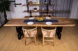 A tabela de jantar de madeira da noz contínua ajustou-se com base do ferro (CG-020)