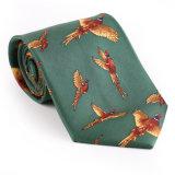 Cravate estampée par fantaisie faite sur commande de polyester de soie de 100% (NT-003)