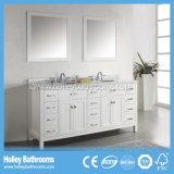 Gabinete de banheiro clássico de venda quente da madeira contínua do projeto americano (BV128W)