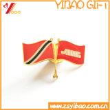최신 판매 주문 로고 연약한 사기질 깃발 금속 기장 또는 접어젖힌 옷깃 핀