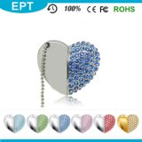 Necklace를 가진 8GB Silver Crystal Heart Shape Jewelry USB Flash Drive
