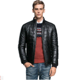 Standplatz Collar PU Leather Fashion Baumwolle-Padded Jacket für Men