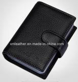 Черный кожаный бумажник держателя кредитной карточки для людей