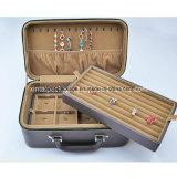 Rectángulo de joyería de madera con la PU para el almacenaje y la visualización