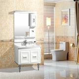Vanité en céramique de salle de bains de PVC de partie supérieure du comptoir, Cabinet noir de PVC