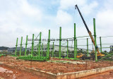 Armazém forte da construção de aço da resistência do vento com feixe do guindaste