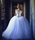 O vestido de esfera 0061 Strapless ata acima a cintura traseira do espartilho do vestido de casamento do vestido de esfera e Neckline da perolização