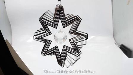 Melodia grossista decoração personalizada de tamanho grande parte espiral esfera de vidro cortadas a laser 3D de aço inoxidável com rotor de vento