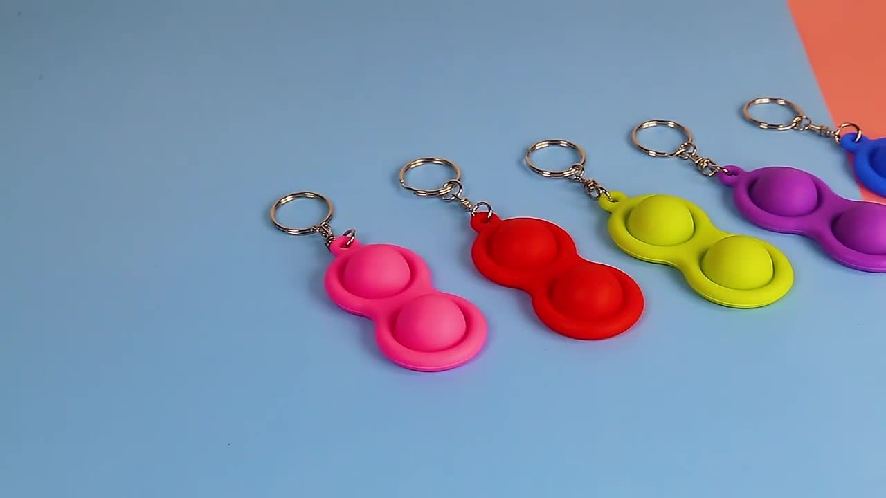 Portachiavi Fidget Toy Popper per bambini e adulti morbido silicone Portachiavi di scarico della sollecitazione