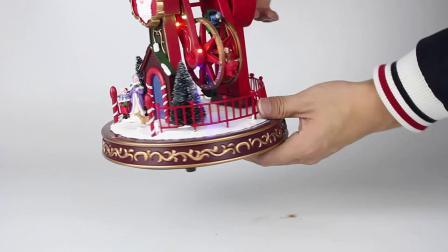 Venda por grosso Hotsell plástico iluminado Decoração de Natal electrónico personalizado Ferris Wheel Caixa de música para Dom