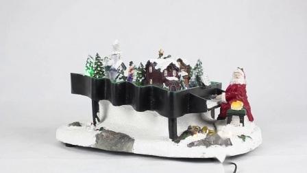 De Piano van de Kerstman van Kerstmis van Polyresin met de Kleurrijke leiden en Decoratie die van het Huis van de Muziek wordt geanimeerd