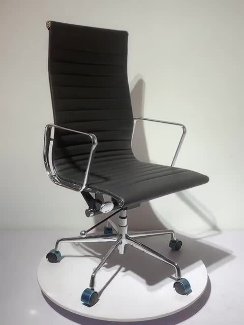 Klassieke Replica Eames High Back Ribbed Leather Office Chair