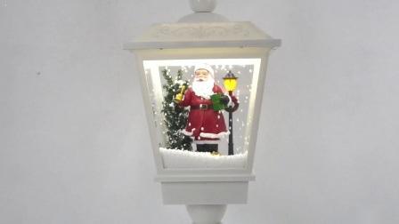Novo chegar Navidad Natal Santa Cena Tampo Musical Lantern, Xmas poste de iluminação LED com neve
