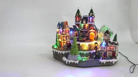 Heet verkoop LEIDENE van het Station van Themed van Kerstmis Model, Naar maat gemaakte Seizoengebonden het Hars Geanimeerde Muzikale Dorp van Kerstmis