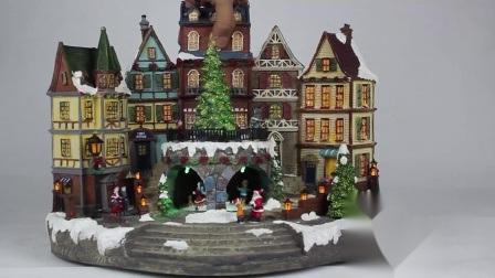 A luz de LED colorido animou Santa Claus Cityhall Natal musical decoração Aldeia
