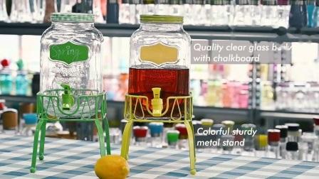 Dispenser di succo in vetro con base per secchiello per ghiaccio