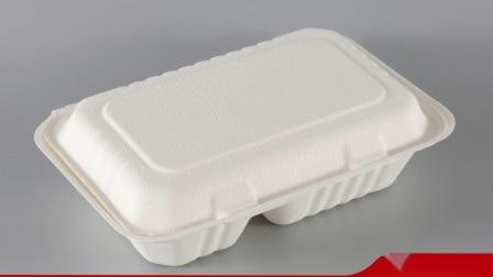 Casella a gettare biodegradabile 100% ecologica di Bento del pranzo del documento dell'hamburger degli articoli per la tavola della polpa della bagassa 6inch della canna da zucchero