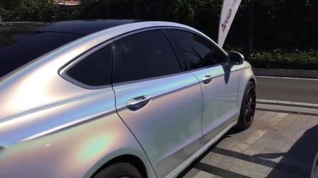 Высокое качество лазерной печати Iridescence глянцевый белый корпус оклейка автомобилей наклейки сетку Car виниловая пленка