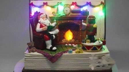 OEM het BinnenOrnament van Kerstmis van de Bovenkant van de Lijst van de Scène van de Zaal van de Kerstman van het Muzikale Boek van de leiden- Hars
