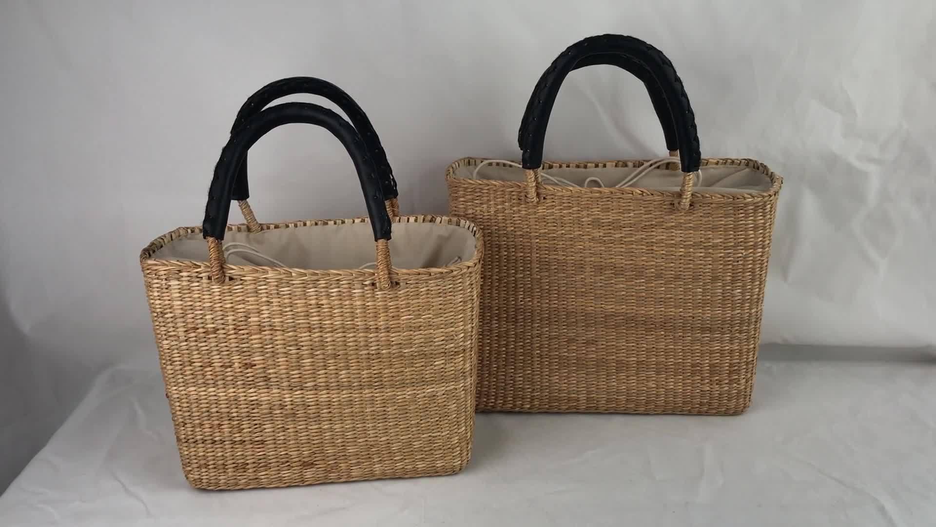 ストローバスケットレディースハンドバッグレディーストートバッグファッションイエローストロー バッグショッピングバッグ
