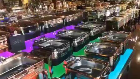 Árabe moderno martelado latão luxuoso Golden Parte Oblongo Buffet Catering Papinhas Hotel Restaurant Forra inferior Gold Silver LED Eléctrico Amolgamento Prato