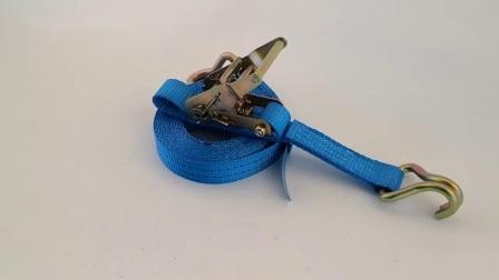 En-12195-2 35mm J Hook Cr3+ plated Ratchet tie down 2ton Breinbrekende kracht